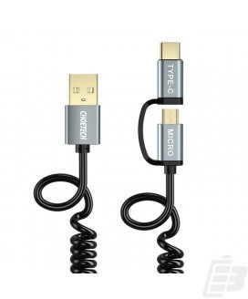 Choetech 2 in 1 USB-C and Micro USB-Cable Coiled 1