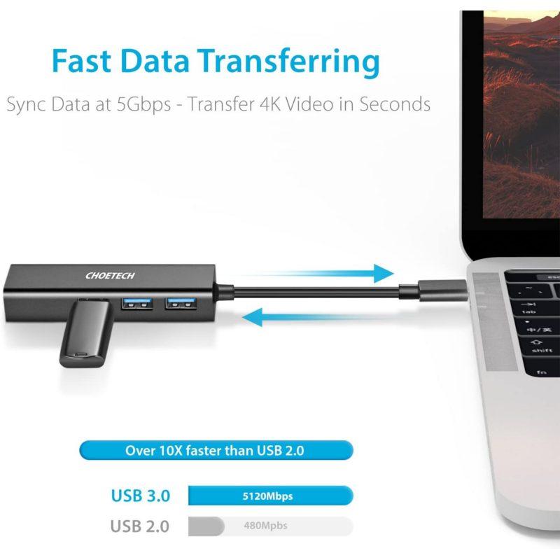 Choetech HUB-U02 USB to ethernet  & 3 x USB 3