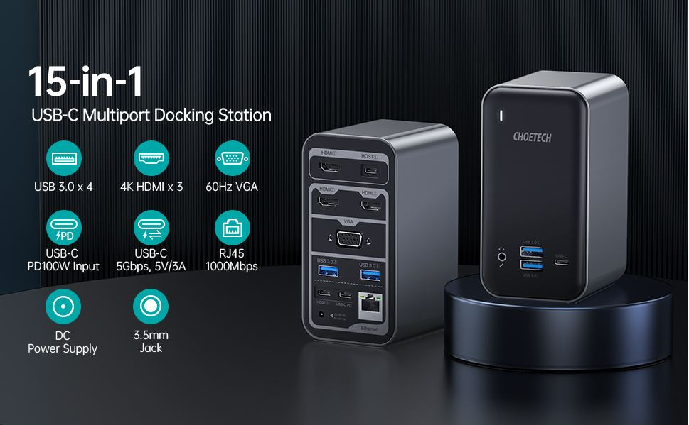 HUB-M21 Choetech 15 in 1 USB C Docking Station