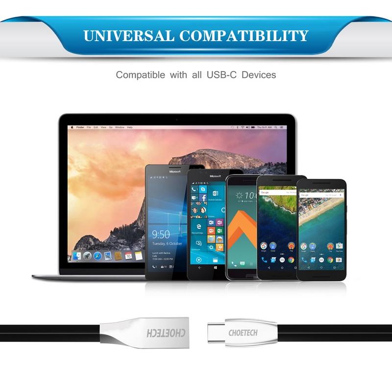 Choetech Premium TPE Jacket USB-C to USB-A Cable black