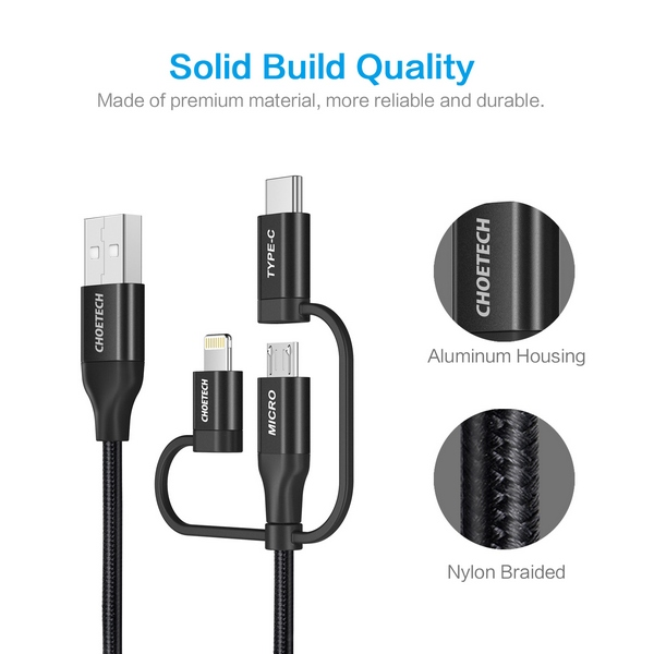 Choetech 3 in 1 USB with lighting & Micro USB & Type-C Connector