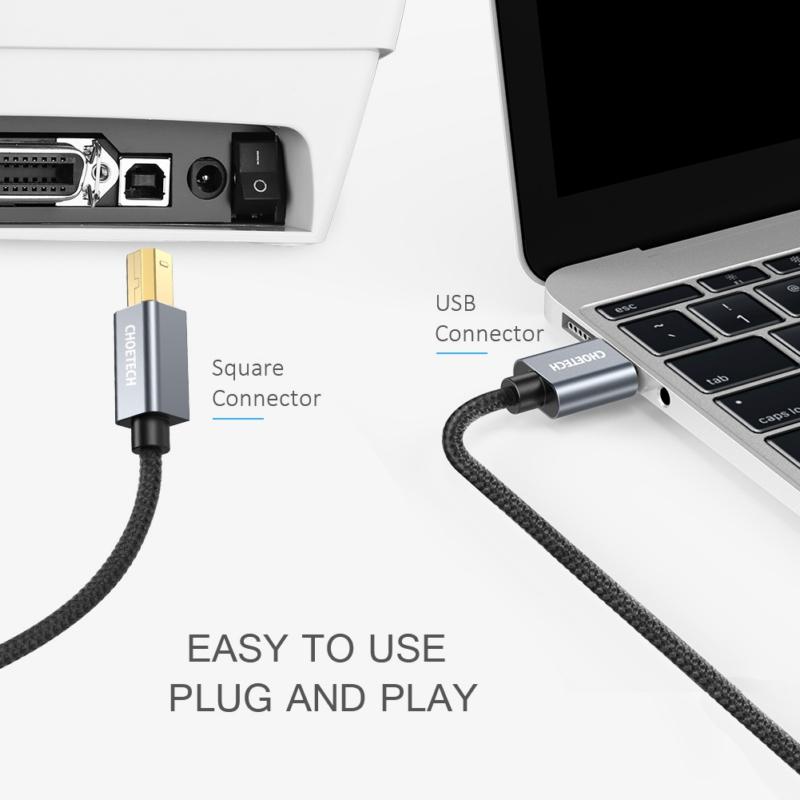 Choetech AB0011-Bk 3m USB-A to type B Square