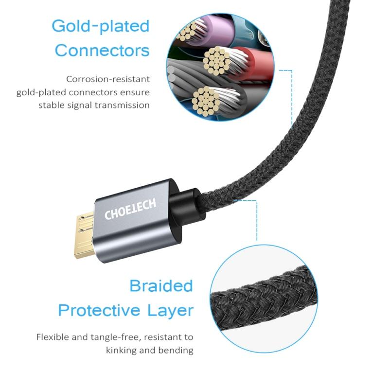 Choetech AB0012-BK AB0012BK USB-A to Micro B 2m