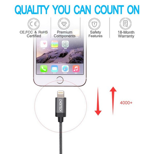 Choetech Nylon Braided Lightning to USB Cable