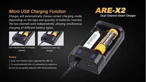 Fenix ARE-X2 CHARGER FOR 18650_26650_10440_14500_AA_AAA_BATTERIES