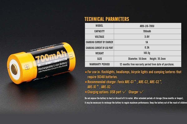 Fenix ARB-L16-700U USB Battery 700mah