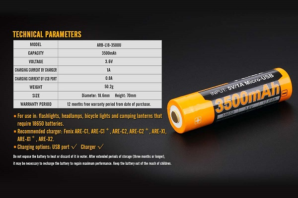 Fenix ARB-L18-3500U USB Battery 3500mah