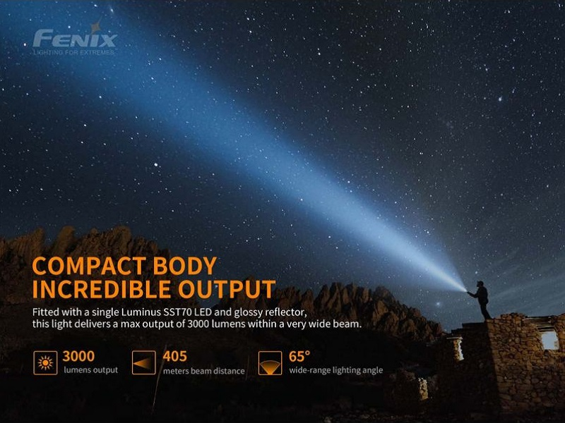 Fenix PD40R V2 3000 lumens 400 meters beam distance