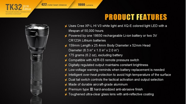 fenix TK32 2016 edition 1000 lumens led flashlight
