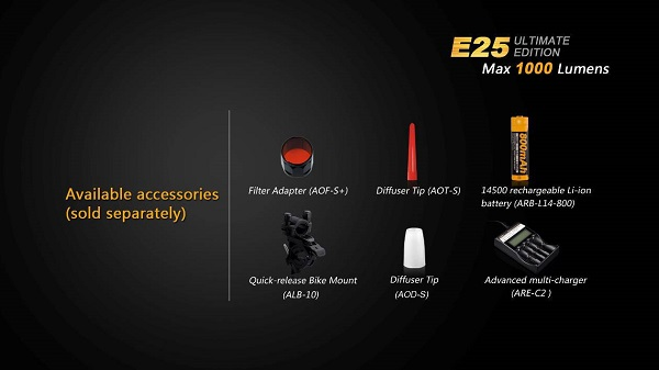 fenix e25 led flashlight 1000 lumens