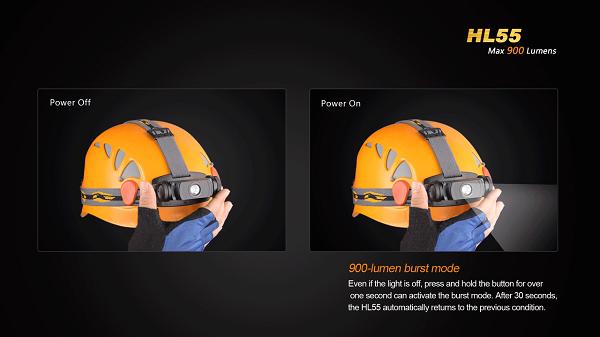 fenix HL55 led headlamp 900 lumens