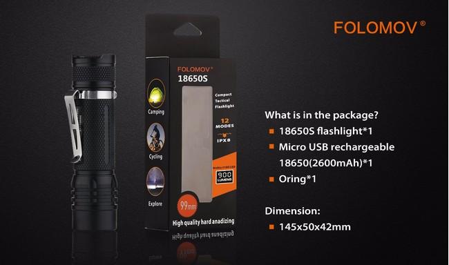 Folomov 18650s Tactical 900 lumens