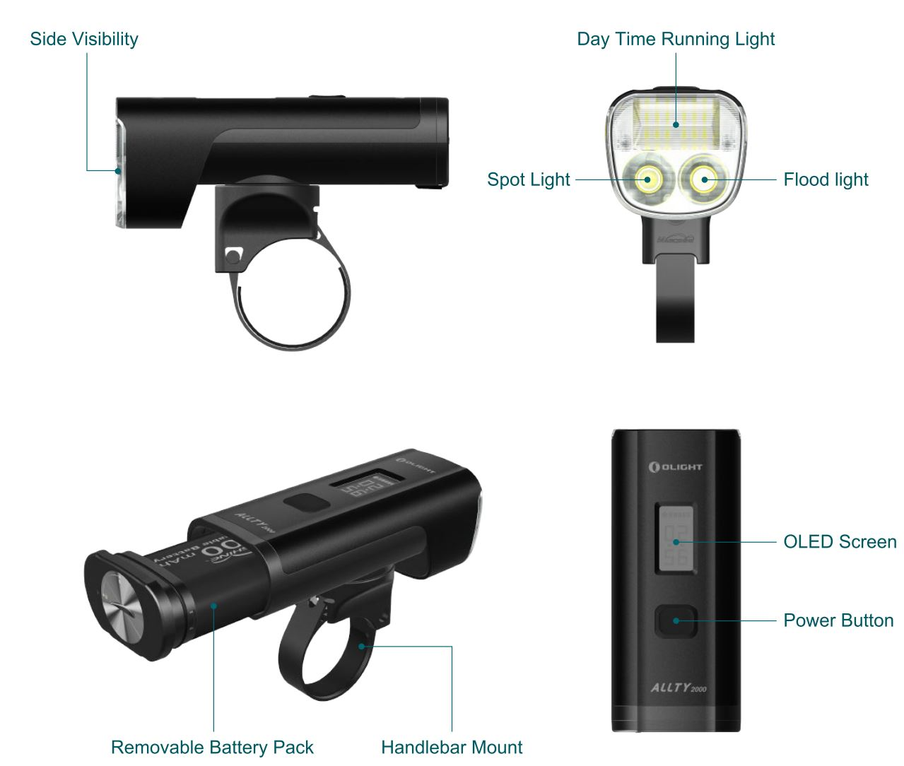 ALLTY2000 is a multifunctional bike light with maximum 2000 lumens of light output. High efficiency optical lens, the high side visibility design can increase the warning effect. Daytime running light will be easier to catch drivers and pedestrians' eye-drawing, hence to strengthen riding safety. Creative OLED screen can indicate lighting mode, battery level and available running time for all 17 brightness levels, thus to help you make better cycling plan. Removeable battery pack with two 3500mAh 18650 batteries. Choosable mounting methods, it can be installed on the computer mount or via GoPro camera mount with Garmin mount. Memory function always keeps the light in the previously used brightness level when being turned on again. IPX 5 waterproof rate, the product will not be affected with water sprayed from all directions.