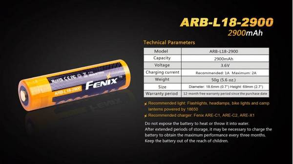 Fenix ARB-L18 rechargeable battery-2900mah